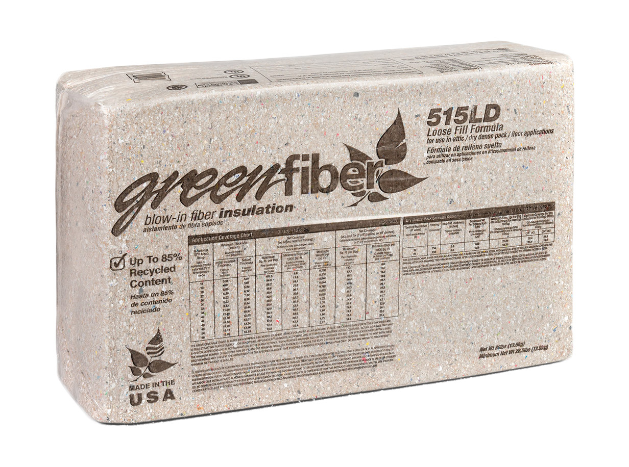 Greenfiber greenfiber insulation ins515ld blended blow in for Loose fill insulation r value